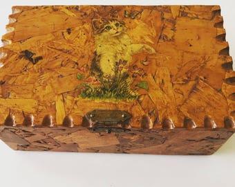 Vintage Handmade Decoupage Cat Kitty Kitten Jewelry Storage Trinket Box Particle Board Wood Wooden Mod Podge Kitsch Butterfly Organizer