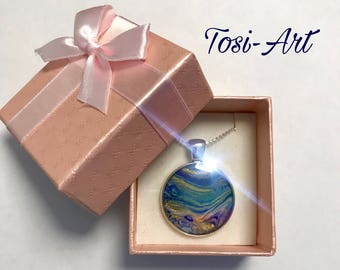 "Resin pendant set "" blue planet "" with steel chain 60 cm incl. giftbox"