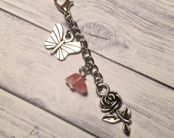 Flower, Butterfly Planner Charm