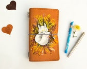 Custom Listing for Hand Painted Little Fox Leather Notebook in A5 Size with Inner Zipper Pockets