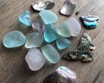 Abalone & Sea Glass Mix