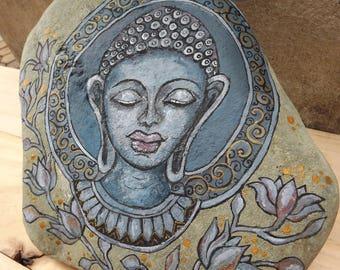 Serene Buddha exquisite painted rock rustic garden and indoor decoration, original stone art, door stop, meditation room ashram gift for him