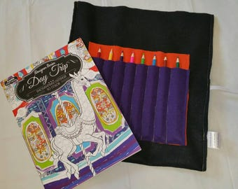 Coloring Book Holder Adult Set Christmas Gift Crayon Roll
