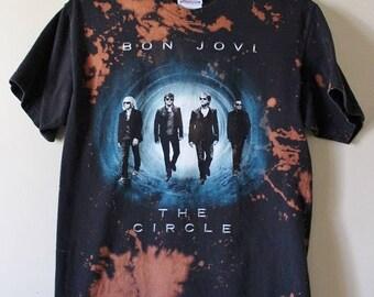 Bleach Dyed/ Acid Washed Bon Jovi Tour T Shirt Small