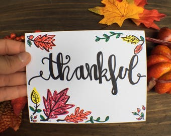 Thankful Greeting Card | Fall Leaves Card | Fall Time Thankful Card