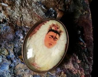 Frida kahlo self portrait necklace