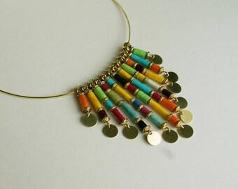 "Elegant necklace ""Vida Coloreada"" from paper lokta Nepalese multicolor"