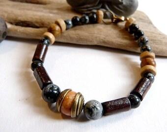 Ethnic bracelet, obsidian, wood and Jasper.