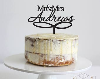 Mr & Mrs Custom Surname with Swirl -  Cake Topper - Glitter / Acrylic / Mirror / Wood / Wedding / Personalised / Party / Express /Bride