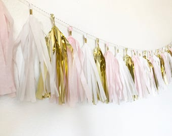 Blush and Gold Tassel Garland | Tassel Banner | Blush Party Decor | Bridal Shower Party Decor | Baby Shower Party Decor | Pale Pink Party