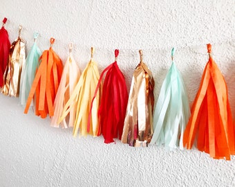 Red, Peach, Wheat Yellow, Mint, Orange, and Copper Rose Gold Tassel Garland | Tassel Banner | Tassel Garland | Fiesta Tassel Garland |  Bunt