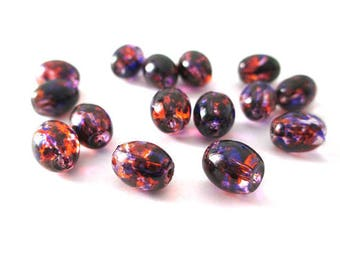 20 beads in transparent glass speckled orange and purple form olive 9x6mm