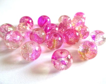 10 pearls pink and yellow Crackle and speckled 8mm (H-19)