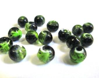 20 black drawbench green translucent 4mm beads
