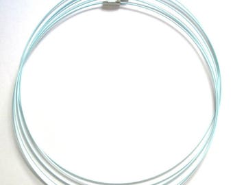 5 light blue color steel wire necklace with screw clasp