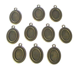 10 support 31x22mm bronze oval cabochon pendants