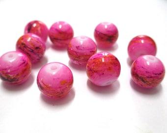 10 perles rose tréfilé multicolore en verre peint 10mm