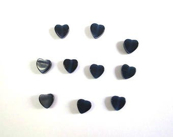 10 heart shaped dark blue color 6mm cat eye beads