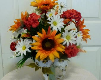 Sunflower Cemetery Arrangement, Summer Cemetery Arrangement With Sunflowers and Geraniums
