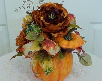 Pumpkin Table Arrangement,Fall Flower Arrangement with Large Peony, Pumpkin Floral Centerpiece