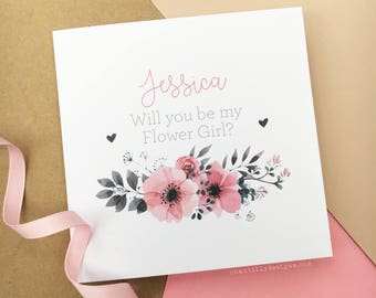Will You Be My Flower Girl Card - Personalised Flower Girl Card - Personalised Wedding Card - Flower Girl Card - Bridesmaid Card