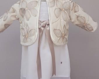 Girls jacket, padded jacket, cream jacket, baby coat, quilted jacket, quilted coat, baby bolero by JQDresses