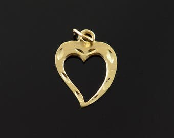 14k Stylized Heart Outline Cut Out Charm/Pendant Gold