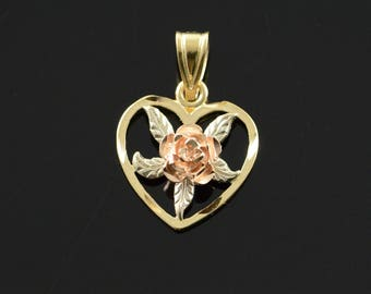 14k Tri Color Heart Rose Pendant Gold