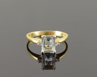 14k 1.78 CTW Blue Topaz Diamond Ring Gold