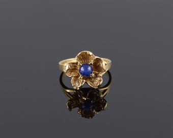 Blue Star Sapphire* 3D Textured Flower Ring Size 5.75 Gold