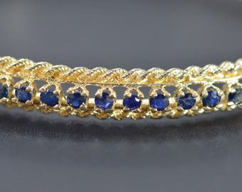 14k 1.75 Ctw Sapphire Rope Edged Hinged Bangle Bracelet Gold 2.25""