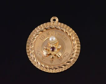 14k Retro Amethyst Pearl Round To Mother Flower Pendant Gold