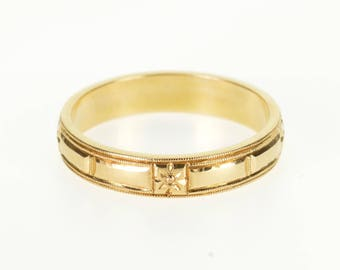14k Geometric Floral Pattern Milgrain Wedding Band Ring Gold