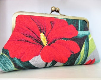 """Bright Red and White Hibiscus on Gray Ground Vintage Barkcloth Fabric 8"""" Antique Brass Kisslock Frame Clutch Wristlet Crossbody Shoulder Bag"""