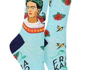 "Frida Kahlo Art Socks-  Fun Artist Parody- 4 Styles- ""Self-Portrait"" Cotton Blend -Art Teachers- Frida Kahlo clothing- Save with Code Inside"