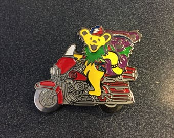 Grateful Dead Bears on Motorcycle Hat Pin