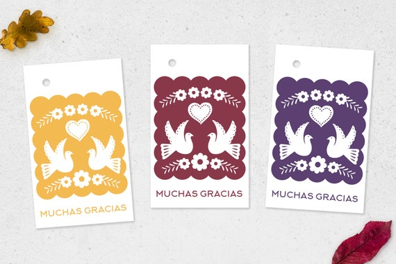 Papel Picado Tags Muchas Gracias Mexican Wedding Gift Labels Favors Dove Thank You Printable