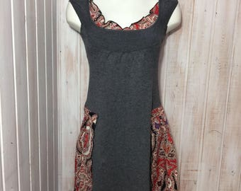 Up cycled clothing gypsy dress, boho style up cycles, gray dress rebuilt with red, white and black paisley by Lilisoleil fabric