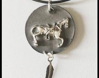 Concrete horse necklace