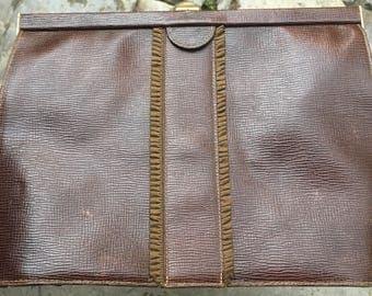 Vintage anni ' 60 brown leather clutch bag