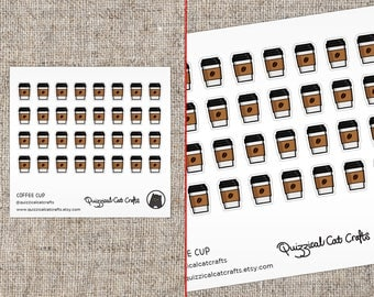 Illustrated Coffee cup stickers // Cappuccino mug planner stickers