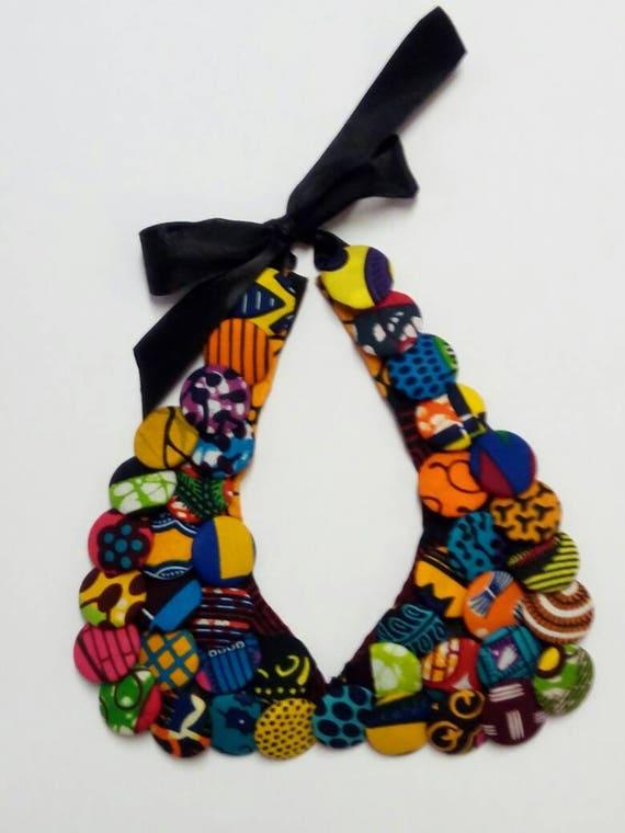 African Print Jewellery, Women's Ankara Fabric Button Necklace