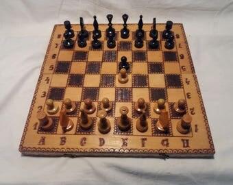 Vintage 1980's Handmade Wooden Chess & Backgammon Set - Medium Size