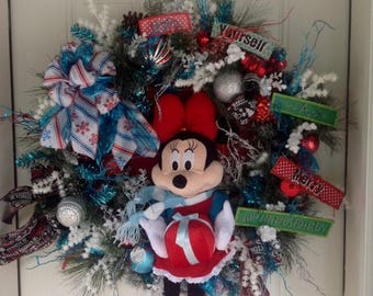 RED HOT SUMMER Sale Christmas Wreath, Holiday Wreath, Minnie Mouse Christmas Wreath, Extra Large Christmas Wreath, Holiday Door Decor, Door