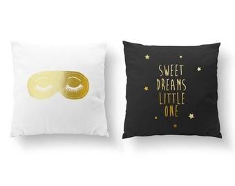 SET of 2 Pillows, Sleeping Mask, Sweet Dreams Little One, Nursery Decor, Throw Pillow, Cushion Cover, Gold Decorative Pillow, Kids Pillow