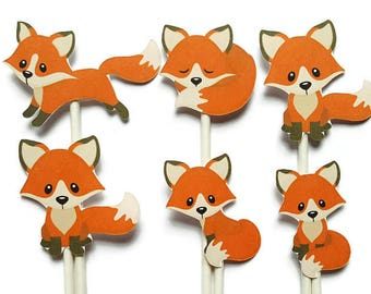 Fox cupcake toppers - set of 12, fox theme, woodland party