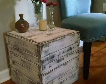 Beautiful Distressed Cream Rustic Side Table, End Table ...