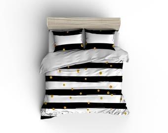 Black and white striped glitter pattern duvet cover