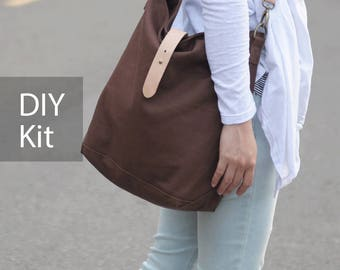 Hobo Canvas Bag DIY Kit with Sewing Pattern & Tutorials (all the materials included)