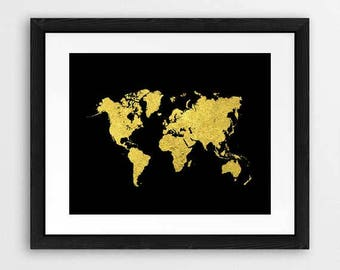 World map poster, gold and black, map of the world, travel map, art print, black and gold, map art, world map decor, map wall art